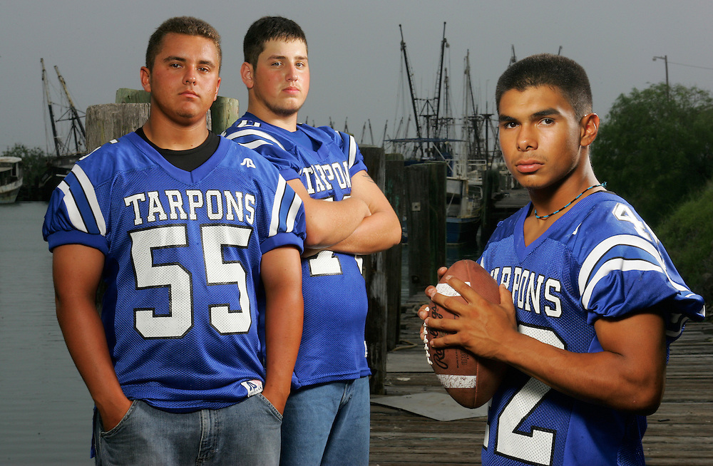 Photo by Alex Jones..Port Isabel Tarpons: #55 Faustino Camacho, offensive guard/defensive tackle, #70 Zach Tamayo, offensive tackle, #42 Ralph Valdez, fullback/outside linebacker.  Shot at Frankie's Bait Stand in Port Isabel.