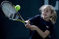 Maja Chwalinska competes during the Longines Future Tennis Aces 2014 at Tuan Tennis Club in Jozefoslaw near Warsaw on April 11, 2014.<br /> <br /> Poland, Warsaw, April 11, 2014<br /> <br /> Picture also available in RAW (NEF) or TIFF format on special request.<br /> <br /> For editorial use only. Any commercial or promotional use requires permission.<br /> <br /> Mandatory credit:<br /> Photo by © Adam Nurkiewicz / Mediasport