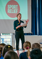 EMBARGOED until 00.01 Friday 13 March 2020. Davidsons Mains Primary School, Edinburgh, Scotland, United Kingdom: Sport Relief Funding. On Sport Relief Day, Jenny Gilruth announces a £1.75 million joint funding package from the Scottish Government and Sport Relief for projects using sport to champion gender equality. Davidsons Mains primary school is a top fundraising school for Sport Relief.<br /> Sally Anderson | EdinburghElitemedia.co.uk