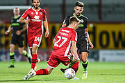 Forest Green Rovers Liam Shephard(2) takes on Morecambe defender George Tanner (27) during the EFL Sky Bet League 2 match between Morecambe and Forest Green Rovers at the Globe Arena, Morecambe, England on 22 October 2019.