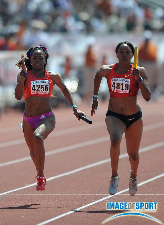 Mar 31, 2012; Austin, TX, USA; Candyce McGrone of TG Elite (right) holds off Gabby Mayo of Sprint Station in the womens 4 x 100m relay, 43.13 to 43.29, in the 85th Clyde Littlefield Texas Relays at Mike A. Myers Stadium.