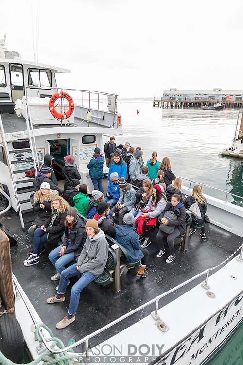 Students all loaded up for a trip on the Monterey Bay.