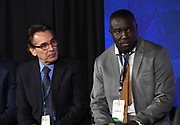 El Salvador coach Carlos De Los Cobos (left) and Jamaica coach Theodore Whitmore during CONCACAF Gold Cup groups unveiling news conference, Wednesday, April 10, 2019, in Los Angeles.