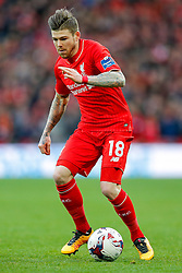 Alberto Moreno of Liverpool in action - Mandatory byline: Rogan Thomson/JMP - 28/02/2016 - FOOTBALL - Wembley Stadium - London, England - Liverpool v Manchester City - Capital One Cup Final.
