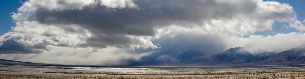 Storm clouds over Owens Lake, Sierra Nevada, California