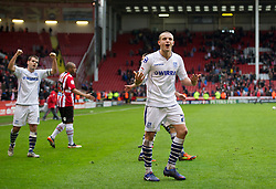 SHEFFIELD, ENGLAND - Saturday, March 17, 2012: Tranmere Rovers' James Wallace celebrates his side's 1-1 draw with Sheffield United during the Football League One match at Bramall Lane. (Pic by David Rawcliffe/Propaganda)