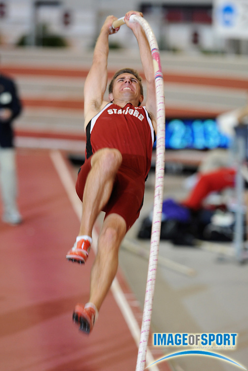 Mar 15, 2008; Fayetteville, AR, USA; Josh Hustedt of Stanford cleared 16-6 3/4 (5.05m) in the heptathlon pole vault for 926 points in the NCAA indoor track and field championships at the Randal Tyson Center. Hustedt was second with 5,836 points.