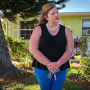 JUNE 25, 2017--DELRAY BEACH, FLORIDA<br /> Samantha Herring stands in front of a house in Delray Beach where her cousin, ​Peter San Angelo, 28, died of an opioid drug overdose on October of 2016. San Angelo was found dead inside a van in the house's driveway. He'd been fighting addiction in a local rehab clinic. Herring is investigating his death. <br /> (Photo by Angel Valentin/Freelance)