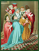 Ferdinand I of Aragon and his Queen, with Sigismund (1368-1437) Holy Roman Emperor from 1433 and Pope Martin V (1368-1431) at time of Council of Constance 1417. Chromolithograph after Carderera 'Iconografia Espanola'