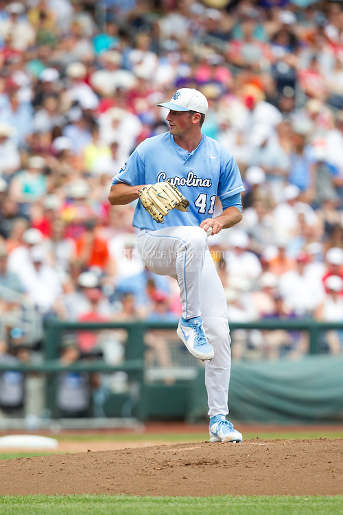 North Carolina Tar Heels pitcher Kent Emanuel #41 pitches during Game 3 of the 2013 Men's College World Series between the North Carolina State Wolfpack and North Carolina Tar Heels at TD Ameritrade Park on June 16, 2013 in Omaha, Nebraska. The Wolfpack defeated the Tar Heels 8-1. (Brace Hemmelgarn)