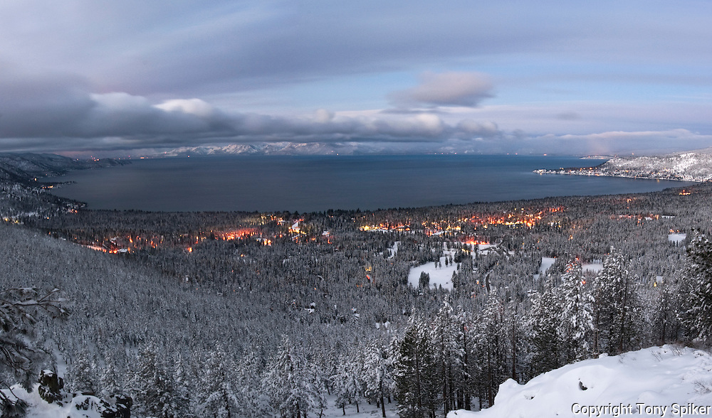 """Winter Sunrise Over Lake Tahoe 1"" - The sun rises over Lake Tahoe from the Mt. Rose overlook, with the town of Incline Village below"