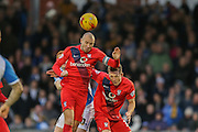 York City midfielder Russell Penn and York City defender, on loan from Huddersfield Town, William Boyle  during the Sky Bet League 2 match between Bristol Rovers and York City at the Memorial Stadium, Bristol, England on 12 December 2015. Photo by Simon Davies.