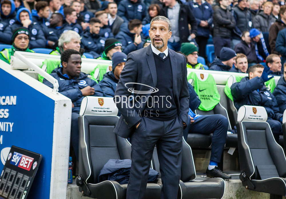 Brighton Manager Chris Hughton during the Sky Bet Championship match between Brighton and Hove Albion and Charlton Athletic at the American Express Community Stadium, Brighton and Hove, England on 5 December 2015. Photo by Bennett Dean.