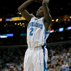 Oct 10, 2009; New Orleans, LA, USA; New Orleans Hornets guard Darren Collison (2) shoots in the second half against the Oklahoma City Thunder at the New Orleans Arena. The Hornets defeated the Thunder 88-79. Mandatory Credit: Derick E. Hingle-US PRESSWIRE