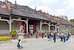 "The Chen Clan Ancestral Hall is an academic temple in Guangzhou, China, built by the 72 Chen clans for their juniors' accommodation and preparation for the imperial examinations in 1894 in Qing Dynasty. Now it houses the Guangdong Folk Art Museum and is a symmetric complex consist of 19 buildings with nine halls and six courtyards.  A large collection of southern China art pieces stud all portions of the building.  It was added in the list of ""Cultural Relics of National Importance under the Protection of the State"" in 1988."