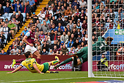 Aston Villa midfielder Conor Hourihane (14) scores a goal from open play during the EFL Sky Bet Championship match between Aston Villa and Norwich City at Villa Park, Birmingham, England on 19 August 2017. Photo by Dennis Goodwin.