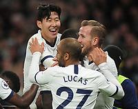 Football - 2019 / 2020 Premier League - Tottenham Hotspur vs. Burnley<br /> <br /> Heung - Min Son and Harry Kane celebrate goal no 5 (Scorer - Moussa Sissoko) at the Tottenham Hotspur Stadium.<br /> <br /> COLORSPORT/ANDREW COWIE