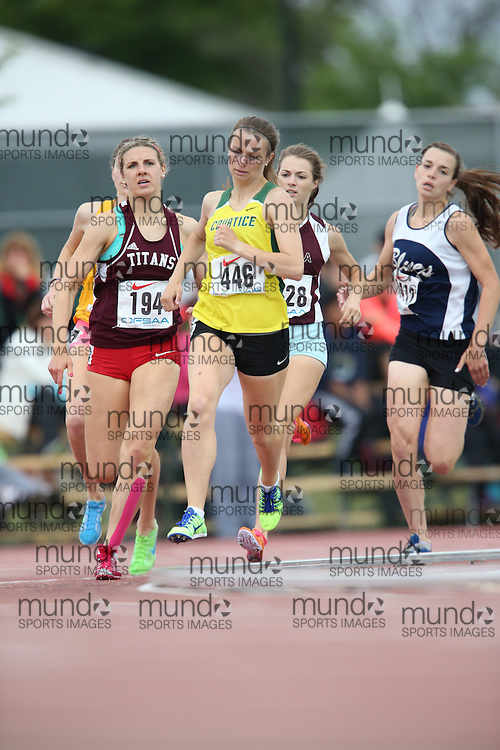 Paige Nock of Courtice SS - Courtice competes in the 800m heats at the 2013 OFSAA Track and Field Championship in Oshawa Ontario, Thursday,  June 6, 2013.<br /> Mundo Sport Images / Sean Burges