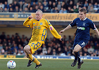 Photo: Ashley Pickering.<br />Southend United v Leicester City. Coca Cola Championship. 03/03/2007.<br />Leicester goal scorer Iain Hume (L) get away from Mark Gower of Southend