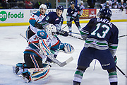 KELOWNA, CANADA - APRIL 30:  Michael Herringer #30 of the Kelowna Rockets, Gordie Ballhorn #4 of the Kelowna Rockets, Scott Eansor #8 of the Seattle Thunderbirds, Mathew Barzal #13 of the Seattle Thunderbirds at the Kelowna Rockets game on April 30, 2017 at Prospera Place in Kelowna, British Columbia, Canada.  (Photo By Cindy Rogers/Nyasa Photography,  *** Local Caption ***