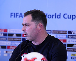 October 7, 2017 - Kolkata, West Bengal, India - Coach Hernan Caputto during a press conference at Salt Lake stadium in Kolkata. Chile football team coach Hernan Caputto and player Antonio Diaz during a press conference ahead of FIFA U 17 World Cup on October 7, 2017 in Kolkata. (Credit Image: © Saikat Paul/Pacific Press via ZUMA Wire)