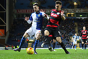Blackburn Rovers Ben Marshall battles during the Sky Bet Championship match between Blackburn Rovers and Queens Park Rangers at Ewood Park, Blackburn, England on 12 January 2016. Photo by Pete Burns.
