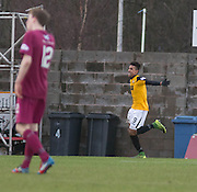 East Fife&rsquo;s Nathan Austin celebrates after scoring his side's opening goal  - East Fife v Arbroath, SPFL League Two at New Bayview<br /> <br />  - &copy; David Young - www.davidyoungphoto.co.uk - email: davidyoungphoto@gmail.com
