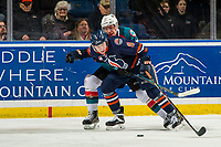 KELOWNA, BC - FEBRUARY 23: Ethan Ernst #19 of the Kelowna Rockets stick checks Josh Pillar #9 of the Kamloops Blazers at Prospera Place on February 23, 2019 in Kelowna, Canada. (Photo by Marissa Baecker/Getty Images)