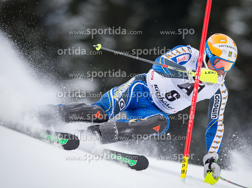 27.01.2013, Ganslernhang, Kitzbuehel, AUT, FIS Weltcup Ski Alpin, Slalom, Herren, 1. Lauf, im Bild Andre Myhrer (SWE) // Andre Myhrer of Sweden in action during 1st run of the  mens Slalom of the FIS Ski Alpine World Cup at the Ganslernhang course, Kitzbuehel, Austria on 2013/01/27. EXPA Pictures © 2013, PhotoCredit: EXPA/ Johann Groder