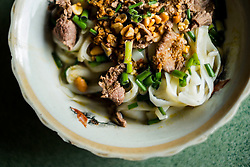 A bowl of mi quang noodles, a traditional vietnamese dish in Central Vietnam, Southeast Asia