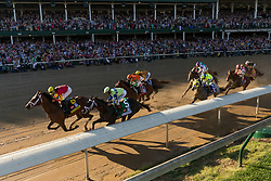 Lookin At Lee with Corey J. Lanerie up led the race the first time under the twin spires Always Dreaming with John R. Velazquez up, second from left won the 143rd running of the Kentucky Derby at Churchill Downs May 6, 2017.
