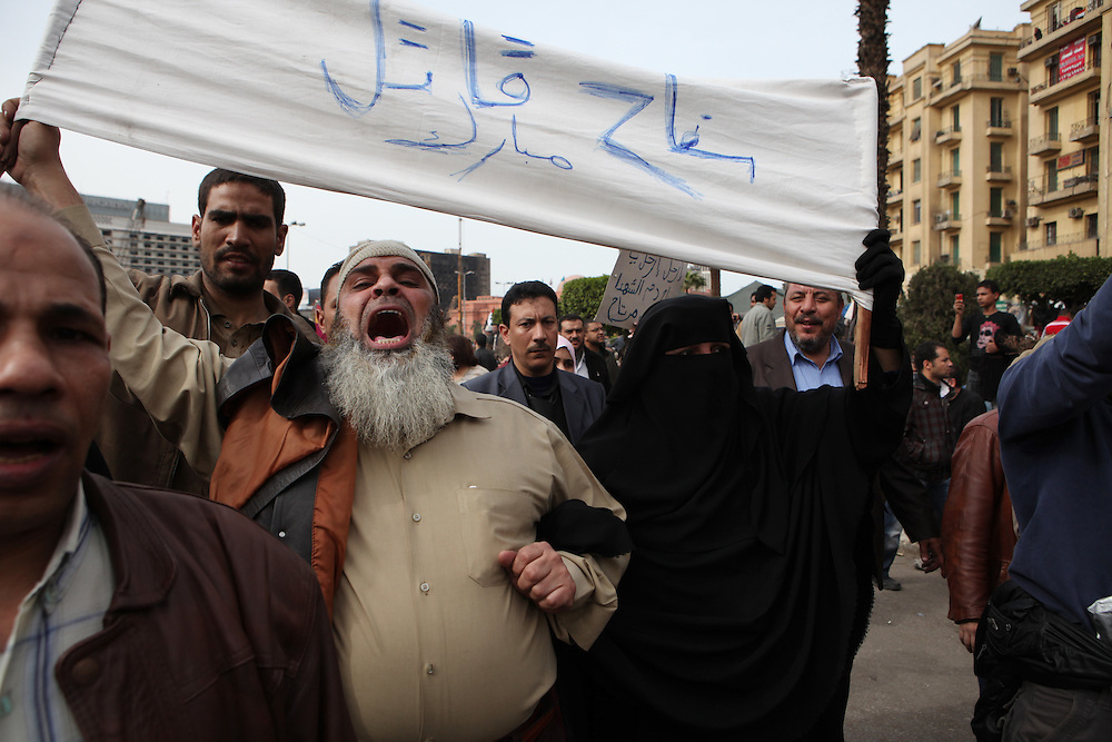 Protesters at Tahrir Square call for President Hosni Mubarak's ouster.