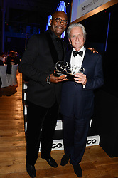 Left to right, SAMUEL L JACKSON and MICHAEL DOUGLAS winner of the Legend of The Year Award at the GQ Men of The Year Awards 2013 in association with Hugo Boss held at the Royal Opera House, London on 3rd September 2013.