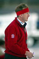 Skøyter, 2-3. november 2002. Norgescup med verdenscup-uttak. Vikingskipet-Hamar. Norges landslagstrener,  Jan De Kok.