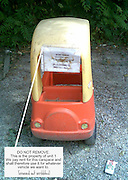 "Kids Toy Car used to keep parking space!<br /> A passer by caught a glimpse of this note from a street in Melbourne, Australia, the images pictured in a resident's car space. using a child toy car it sits proudly in there parking space ,  ""we imagine this person is quite popular with the neighbours."" the note reads...<br /> <br /> ""Do Not Remove. This is the Property of unit 1, we pay rent for this car space and shall therefore use it for whatever vehicle we want to""<br /> ©exclusivepix"