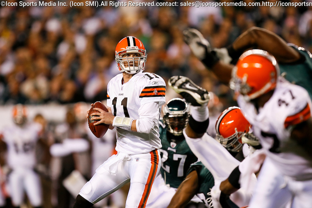 15 Dec 2008: Cleveland Browns quarterback Ken Dorsey #11 during the game against the Philadelphia Eagles on December 15th, 2008. The Eagles won 30-10 at Lincoln Financial Field in Philadelphia, Pennsylvania