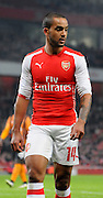 Theo Walcott in action on his return from injury during the The FA Cup match between Arsenal and Hull City at the Emirates Stadium, London, England on 4 January 2015. Photo by Michael Hulf.