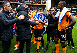 Free to use courtesy of SkyBet. Ruben Neves and other Wolverhampton Wanderers players celebrate at the end of the game after securing automatic promotion from the Sky Bet Championship to the Premier League - Rogan/JMP - 15/04/2018 - Molineux - Wolverhampton, England - Wolverhampton Wanderers v Birmingham City - Sky Bet Championship.