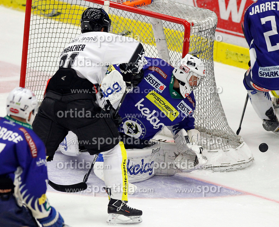 26.10. 2014, Stadthalle, Villach, AUT, EBEL, EC VSV vs Dornbirner EC 14. Runde, im Bild v.l.Robert Lembacher (Dornbirn) und Jean Philippe Lamoureux (VSV) // during the Erste Bank Icehockey League 14th round match between EC VSV vs Dornbirner EC at the City Hall in Villach, Austria on 2014/10/26, EXPA Pictures © 2014, PhotoCredit: EXPA/ Oskar Hoeher