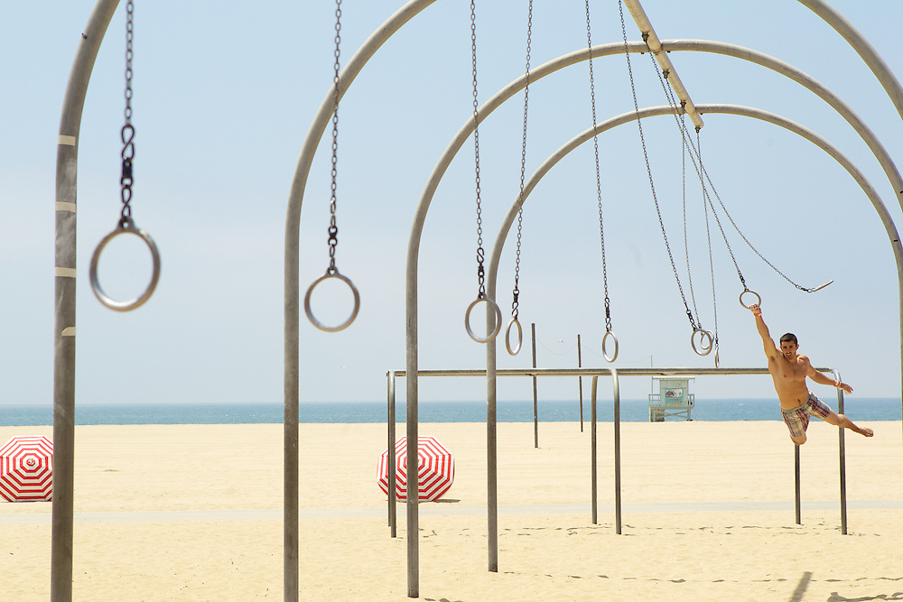 Fruit of the Loom TV Spot in LA of guy at beach swinging on the rings near Venice