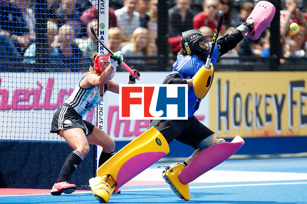 LONDON, ENGLAND - JUNE 25:  Belen Succi of Argentina makes a save off a penalty corner during the FIH Women's Hockey Champions Trophy 2016 match between Argentina and the Netherlands at Queen Elizabeth Olympic Park on June 25, 2016 in London, England.  (Photo by Joel Ford/Getty Images)