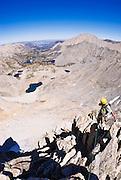 Climber on the northeast ridge of  Bear Creek Spire, John Muir Wilderness, Sierra Nevada Mountains, California