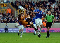 Photo: Richard Lane.<br /> Wolves v Leicester City. Coca Cola Championship.<br /> 17/09/2005.<br /> Wolves' Rob Edwards attempts an overhead kick shot at goal.