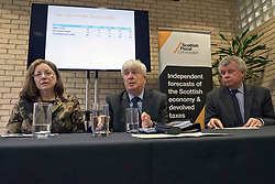Pictured: Dame Susan Rice, Scottish Fiscal Commission chair, Professor David Ulph and Professor Alasdair Smith<br /> <br /> The Scottish Fiscal Commission team, led by Dame Susan Rice, met journalists today and gave a short presentation on their five-year economic forecasts following the Scottish budget announcement.<br /> <br /> Ger Harley | EEm 13 December 2018