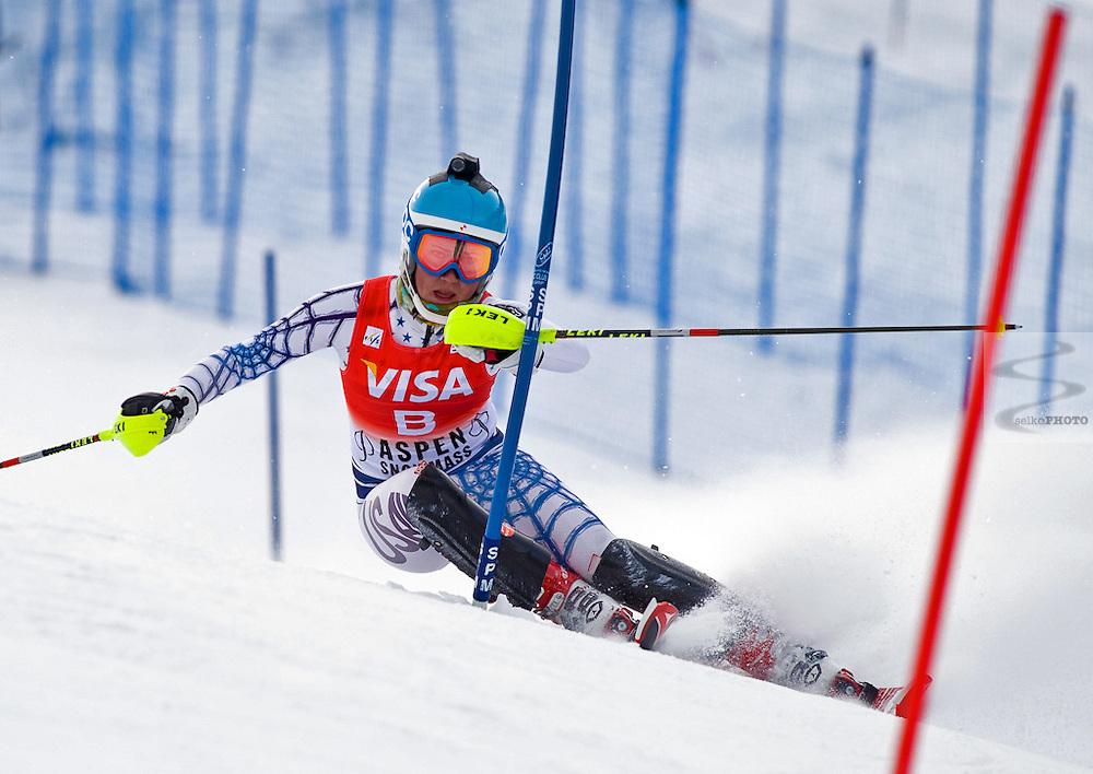 US Ski Team Athlete Mikaela Schiffrin forunning The 2010 Winternational  Wolrd Cup Slalom Race on Ajax Mountain in Aspen, CO on November 29, 2010.