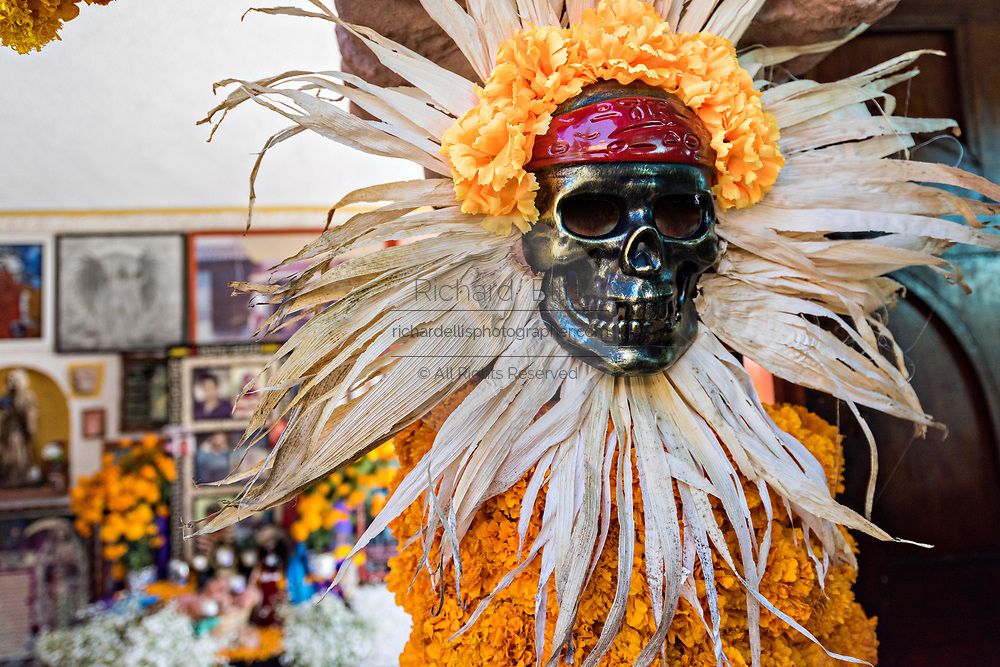 A decorated skeleton figure inside the Temple of Nuestra Señora de la Santa Muerte or Church of the Saint of the Dead November 1, 2017 in Santa Ana Chapitiro, Michoacan, Mexico.