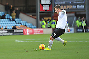 Bradford City midfielder, on loan from Wolverhampton Wanderers, Lee Evans  takes free kick during the Sky Bet League 1 match between Scunthorpe United and Bradford City at Glanford Park, Scunthorpe, England on 21 November 2015. Photo by Ian Lyall.