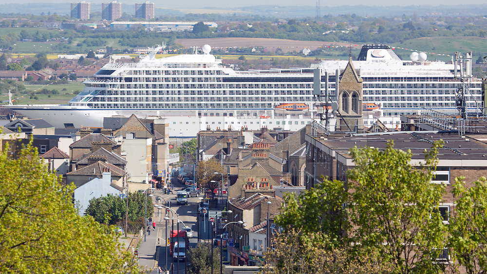 © Licensed to London News Pictures. 05/05/2016.Viking Sea passes Gravesend. Brand new cruise ship Viking Sea has arrived in London for a christening ceremony at Greenwich. The 227 metre long cruise ship carries 930 passengers and is the biggest cruise ship to ever be christened in London. Credit : Rob Powell/LNP