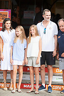 King Felipe VI of Spain, Queen Letizia of Spain, Crown Princess Leonor, Princess Sofia is seen at Real Club Nautico during 38th Copa del Rey Mapfre Sailing Cup - Day 4 on August 1, 2019 in Palma, Spain