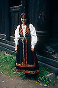 "Norwegian woman dressed in ""Bunad"" from Telemark region, Norwegian Folk Museum, Bygdøy area near Oslo, Norway..Media Usage:.Subject photograph(s) are copyrighted Edward McCain. All rights are reserved except those specifically granted by McCain Photography in writing...McCain Photography.211 S 4th Avenue.Tucson, AZ 85701-2103.(520) 623-1998.mobile: (520) 990-0999.fax: (520) 623-1190.http://www.mccainphoto.com.edward@mccainphoto.com"